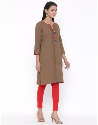 Suti Womens Cotton Kurti, Dark Khakhi