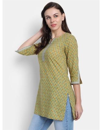 Suti Womens 100% Cotton Printed Short Kurti Green Sulphur
