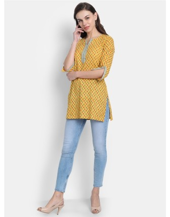 Suti Womens 100% Cotton Printed Short Kurti Old Gold