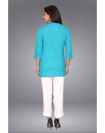 SUTI WOMENS COTTON EMBROIDED SHORT TOP N TUNIC, TURQUOISE