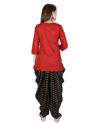 Suti Womens Cotton A Line Fit Top, Bagru Red
