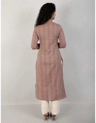 Suti Women's Cotton Stripe Front Buttoned Long Tunic, Maroon